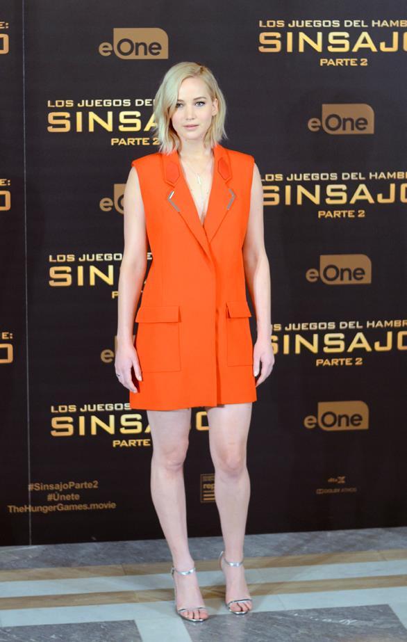 Jennifer Lawrence in Mugler.