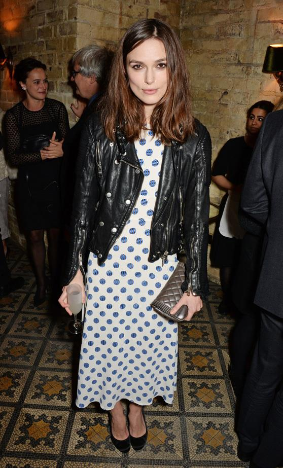 Polka dots and a leather jacket. Perfect.