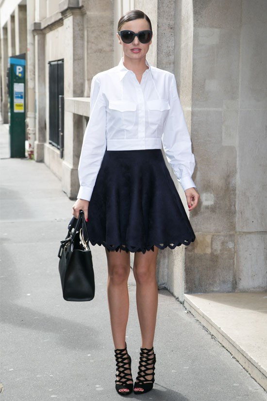 Miranda Kerr goes ladylike in Paris.