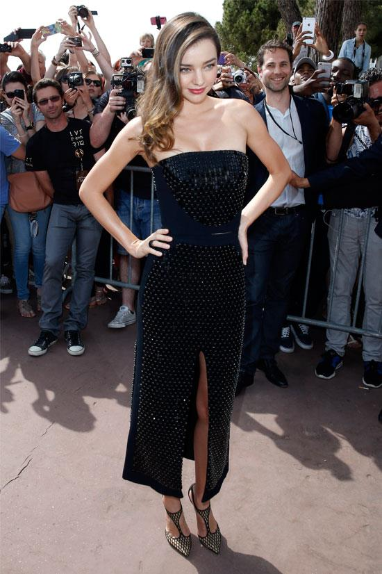 Miranda Kerr goes strapless during Cannes Film Festival.