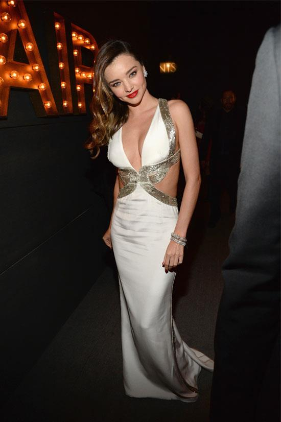 Miranda Kerr looks 50's Hollywood glam at the Vanity Fair Oscars party.