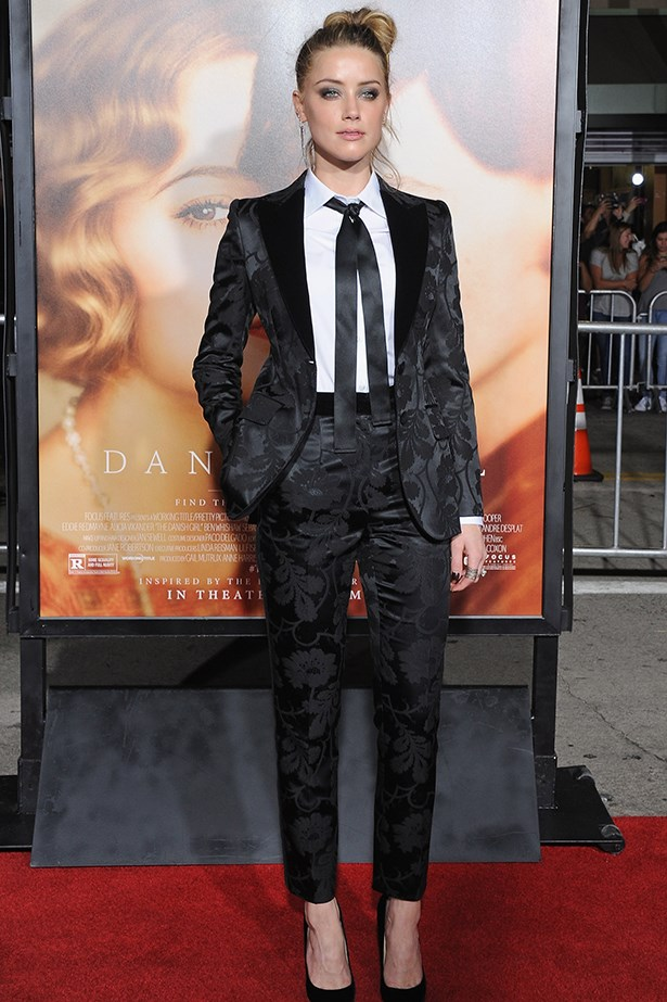 Amber's Dolce and Gabbana suit was a welcome change from the red carpet standard.