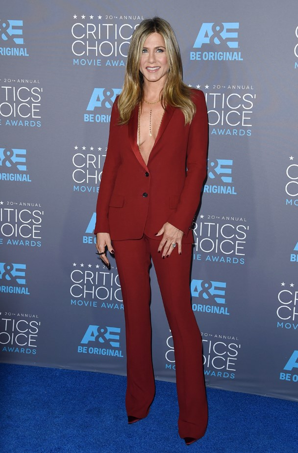 Jennifer Aniston went red with this one.