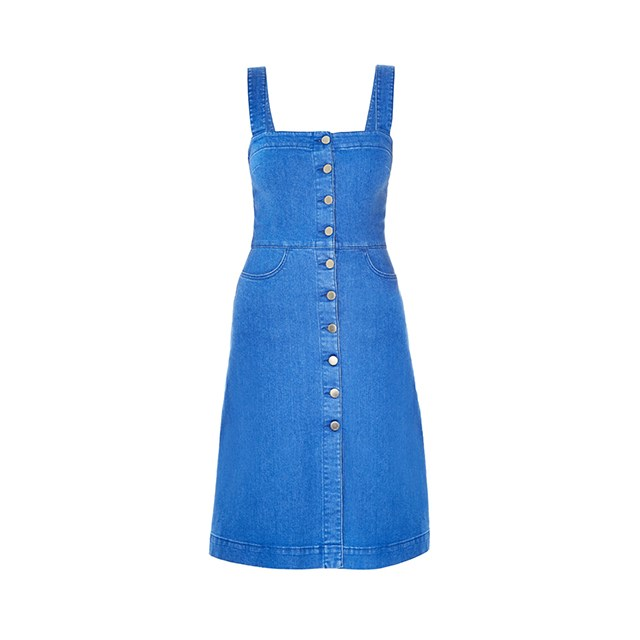 "Button up dress, $890, <a href=""http://www.matchesfashion.com/au/products/Stella-McCartney-Linda-denim-pinafore-dress-1034521"">Stella McCartney</a>."