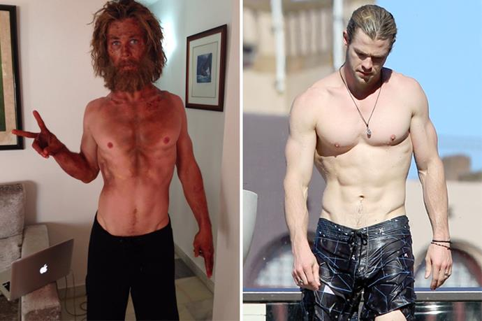 """Just tried a new diet/training program called ""Lost At Sea"". Wouldn't recommend it.."" tweeted Chris Hemsworth about his dramatic weight loss for <em>In The Heart Of The Sea</em>."