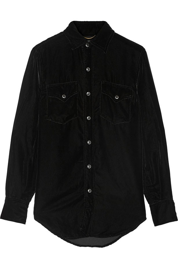 "Shirt, $2124, Saint Laurent, <a href=""http://www.net-a-porter.com/au/en/product/608797/Saint_Laurent/velvet-shirt"">net-a-porter.com</a>"