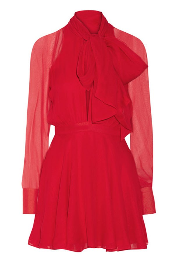 "Silk Dress, $6415, Haney, <a href=""http://www.net-a-porter.com/au/en/product/641828/Haney/sybil-pussy-bow-silk-chiffon-mini-dress"">net-a-porter.com/au</a>"