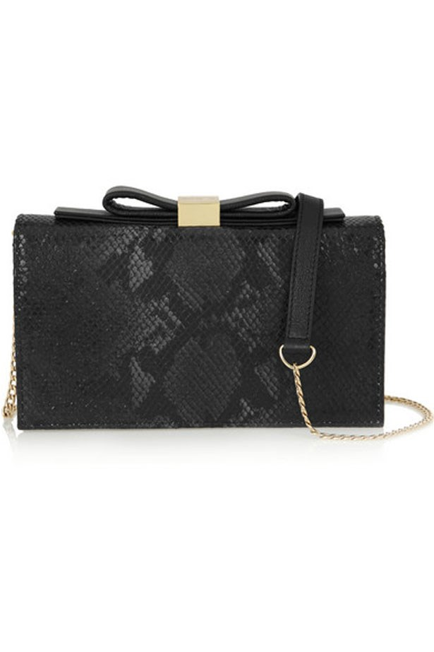 "Purse, $337, See by Chloe, <a href=""http://www.net-a-porter.com/au/en/product/608595/See_by_Chloe/nora-python-effect-leather-shoulder-bag"">net-a-porter.com/au</a>"