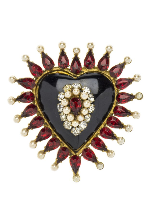 "Love Heart Brooch, $4950, Chanel Vintage, <a href=""http://www.designer-vault.com/collections/chanel-brooches/products/chanel-early-vintage-1920s-brooch"">designer-vault.com</a>"