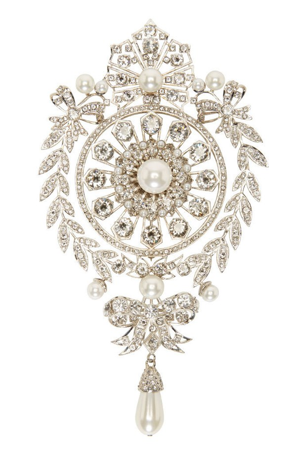 "Chandelier Brooch, $1830, Givenchy, <a href=""https://www.ssense.com/en-us/women/product/givenchy/silver-pearl-and-rhinestone-brooch/1229023?utm_source=2687457&utm_medium=affiliate&utm_campaign=generic&utm_term=10569670"">ssense.com/en-us</a>"