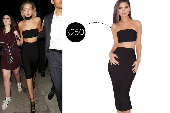 "<a href=""http://www.houseofcb.com/kiyoko-black-bandage-two-piece-en.html?currency=USD"">House of CB bandage two piece, $250.</a>"