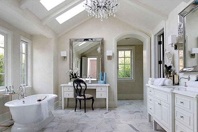 An all-white bathroom.