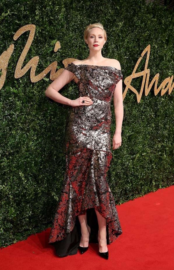 Gwendoline Christie attends the British Fashion Awards.