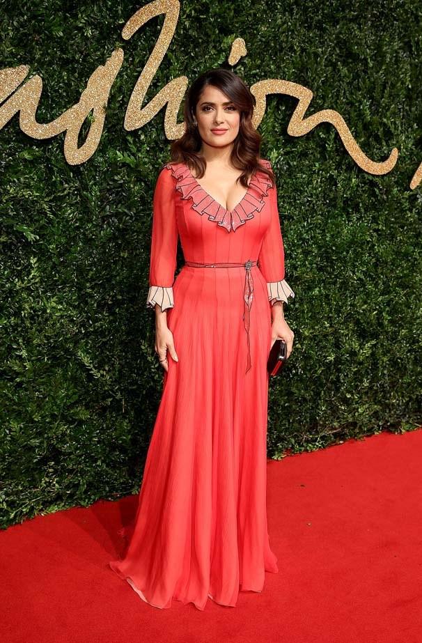 Salma Hayek attends the British Fashion Awards.
