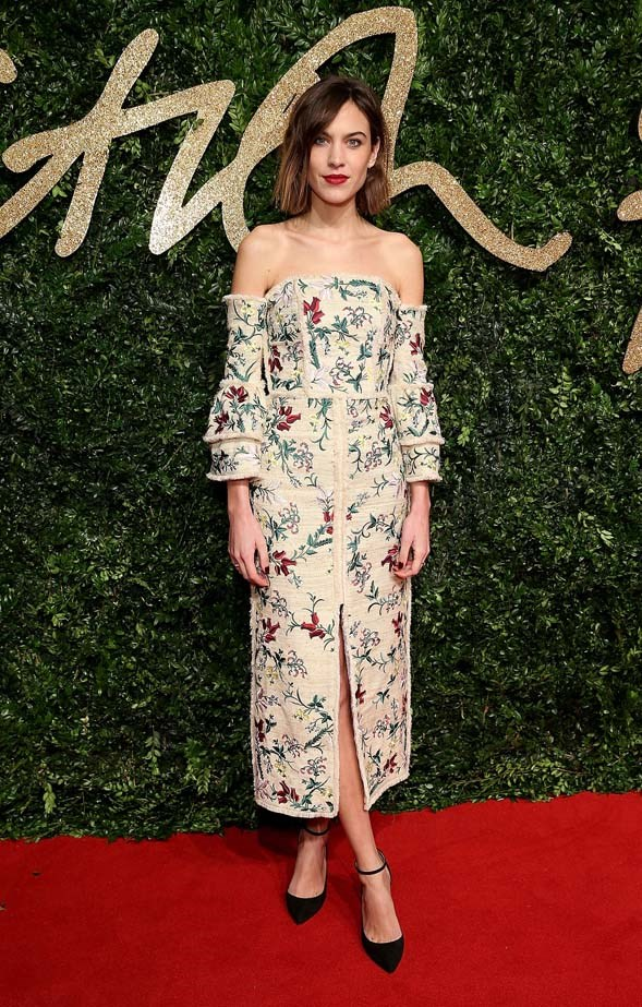 Alexa Chung attends the British Fashion Awards.