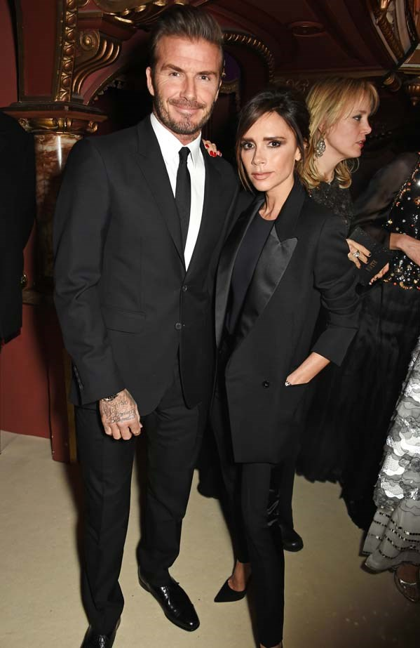 David and Victoria Beckham attend the British Fashion Awards.