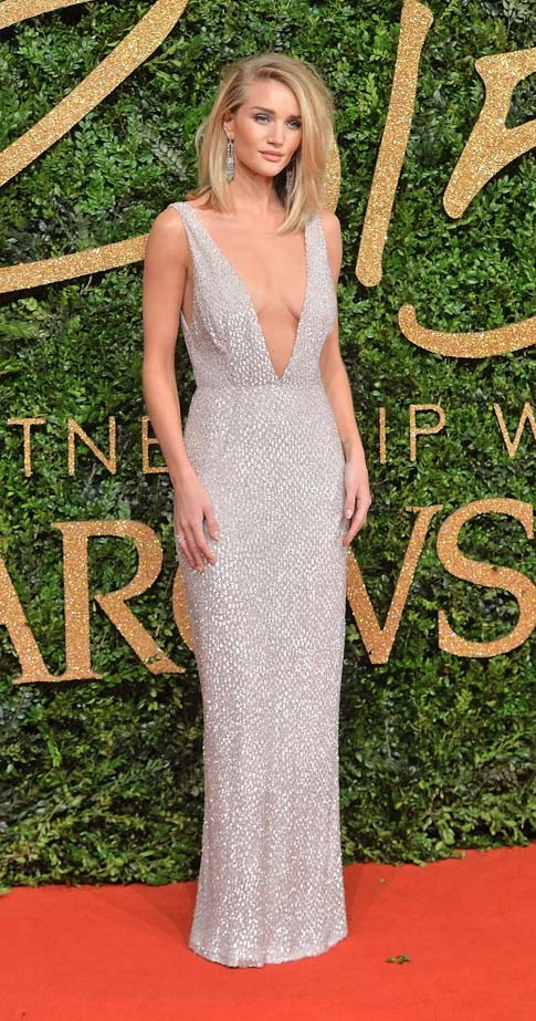 Rosie Huntington-Whitely attends the British Fashion Awards.