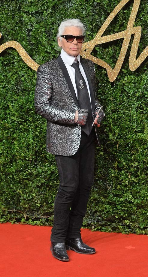 Karl Lagerfeld attends the British Fashion Awards.