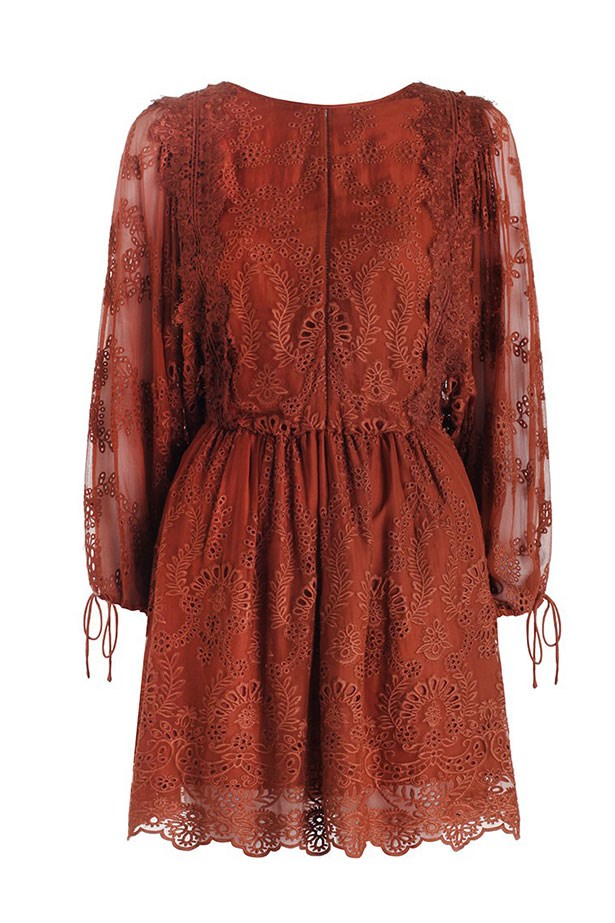 "Dress, $695, Zimmermann, <a href=""http://www.zimmermannwear.com/the-latest/alchemy-twine-embroidery-dress-copper.html"">zimmermannwear.com</a>"