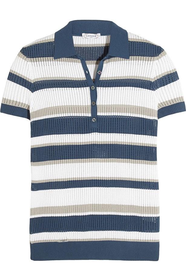 "Top, $303, L'Etoile Sport, <a href=""http://www.net-a-porter.com/au/en/product/604713/LEtoile_Sport/striped-open-knit-polo-top"">net-a-porter.com</a>"