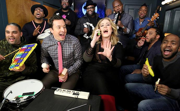 Watch Adele And Jimmy Fallon Perform Hello With Children's Music Instruments