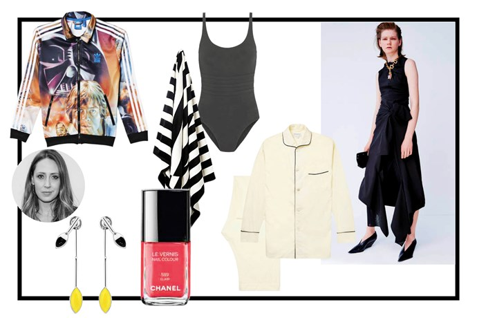 """<strong>NAME:</strong> Genevra Leek <br> <strong>THIS CHRISTMAS I'll be…</strong> close to a body of water with good friends and family. <br> <strong>JOB TITLE:</strong> Associate Editor <br> <br> Le Vernis nail colour, $39, Chanel, <a href=""""http://shop.davidjones.com.au/djs/en/davidjones/le-vernis-nail-colour"""">davidjones.com.au</a> <br> Chanel's nail varnish in 'holiday' will be the perfect sister stocking filler. <br> <br> Beach towel, $64.95, Country Road, <a href=""""http://www.countryroad.com.au/shop/home/beach-towels/60183913/farrow-beach-towel.html"""">countryroad.com.au</a> <br> Considering I'll be using my parents' pool all summer long, new beach towels is the least I can do. <br> <br> Celine dress, $POA, <a href=""""https://www.celine.com/en/collections/spring/ready-to-wear/look-27-0"""">celine.com</a> <br> I don't mind who volunteers to travel to Paris to pick me up this dress, I just need it by New Year's Eve please. <br> <br> Star Wars jacket, $99, Adidas Originals, <a href=""""http://www.adidas.com/us/star_wars-jackets"""">adidas.com</a> <br> This one is going to win me title of favourite aunt of the year. <br> <br> Cotton pyjamas, $529, Kingsman + Turnbull & Asser, <a href=""""http://www.mrporter.com/en-au/mens/kingsman/-turnbull-asser-cotton-pyjamas/628194"""">MrPorter.com</a> <br> We'll both pretend these are for him but we secretly know who'll end up wearing them. <br> <br> Earrings, $741, Dior, <a href=""""http://www.dior.com/couture/fr_fr/mode-femme/accessoires/boucles-doreilles"""">dior.com</a> <br> In preparation for SS16 (the season of jewellery), a pair of statement earrings is in order. <br> <br> Les Essentiels swimsuit, $415, Eres, <a href=""""http://www.net-a-porter.com/au/en/product/650669/eres/les-essentiels-asia-shaping-swimsuit"""">net-a-porter.com</a> <br> I've always wanted a plain black Eres maillot and this year I think I'm grown up enough to have one."""