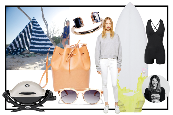 """<strong>NAME:</strong> Carly Roberts <br> <strong>THIS CHRISTMAS...</strong> My toes won't leave the sand <br> <strong>JOB TITLE:</strong> Creative Director <br> <br> Anteka Honey Translucent/Gold/Green Gradient sunglasses, $190, EPOKHE, <a href=""""http://www.epokhe.co/collections/sunglasses/products/anteka-honey-translucent-gold-green"""">epokhe.co</a> <br> Never too many sunnies, especially EPOKHES! <br> <br> Skin 5 Optic White Jeans, $270, Acne, <a href=""""http://www.acnestudios.com/shop/women/jeans/skin-5-optic-white.html"""">acnestudios.com</a> <br> There's been a lot of white jeans in the change rooms, finally found the perfect pair. <br> <br> Indigo Beach Tipi, $285, Ginger & Gilligan, <a href=""""http://www.gingerandgilligan.com/product/indigo-tie-dye-stripes"""">gingerandgilligan.com</a> <br> Perfect beach set up for a surfy beach bum. <br> <br> Tate black and white Sapphire ring, $730, Mirlo, <a href=""""http://mirlonewyork.com/collections/rings/products/tate-black-white-sapphire-ring"""">mirlonewyork.com</a> <br> Just so cool. <br> <br> Bucket bag (Camello), $595, Mansur Gavriel, <a href=""""http://www.mansurgavriel.com/products/bucket-bag-cammello/rosa"""">mansurgavriel.com</a> <br> Because you can't get enough hands on enough of these bags – must have in as many colours as possible. <br> <br> Pina Colada Chilli surfboard, <a href=""""http://www.chillisurfboards.com/"""">chillisurfboards.com</a> <br> The name says it all - the essential summer holiday board."""