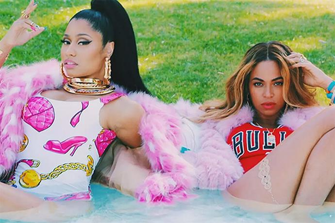 Beyonce and Nicki Minaj both bucked bikinis for <em>Feelin' Myself</em>.
