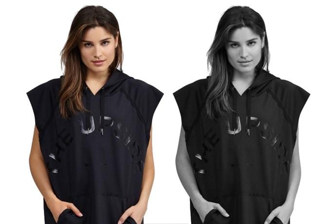 """<a href=""""http://www.theupsidesport.com/women/hoodies/the-black-recovery"""">The Upside 'Black Recovery' hoddie, $199.00.</a>"""
