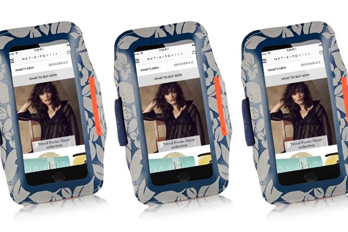 """<a href=""""http://www.net-a-porter.com/au/en/product/582998/adidas_by_stella_mccartney/reflective-media-player-armband"""">Adidas by Stella McCartney Reflective media player armband, $43.00.</a>"""