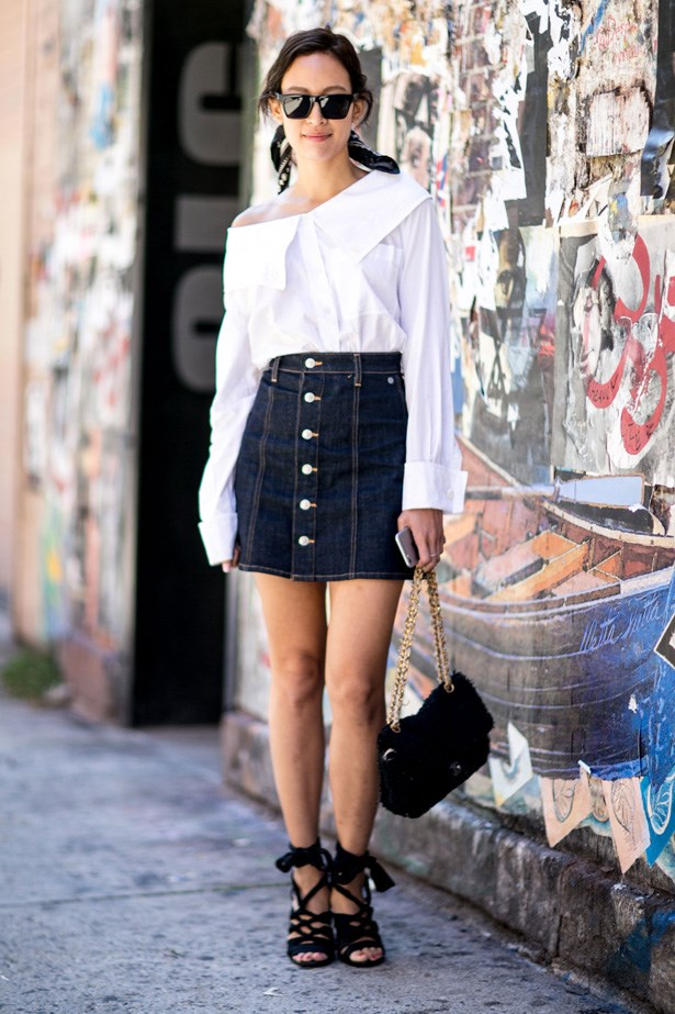 <p>9. Button up denim skirts</p> <p>This one is a no brainer and we have no idea what we wore before we owned one. Works with boots, sneakers and heels. Amazing.</p>