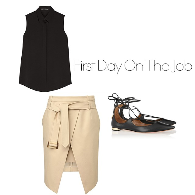"<p>First Day On The Job</p> <p>It's your first day at a new position, naturally you need to appear uber professional but also very very stylish. Wear statement flats to instantly lift any cooperate outfit.</p> <p><a href=""http://www.net-a-porter.com/au/en/product/642830/theory/tanelis-silk-georgette-top"">Theory shirt</a>, $327. </p> <p><a href=""http://www.witchery.com.au/shop/new-in/woman/clothing/60185264/Tie-Split-Skirt.html"">Wrap skirt</a>, $79.95</p> <p><a href=""http://www.net-a-porter.com/au/en/product/638296/aquazzura/christy-leather-point-toe-flats"">Lace up flats</a>, $666.</p>"