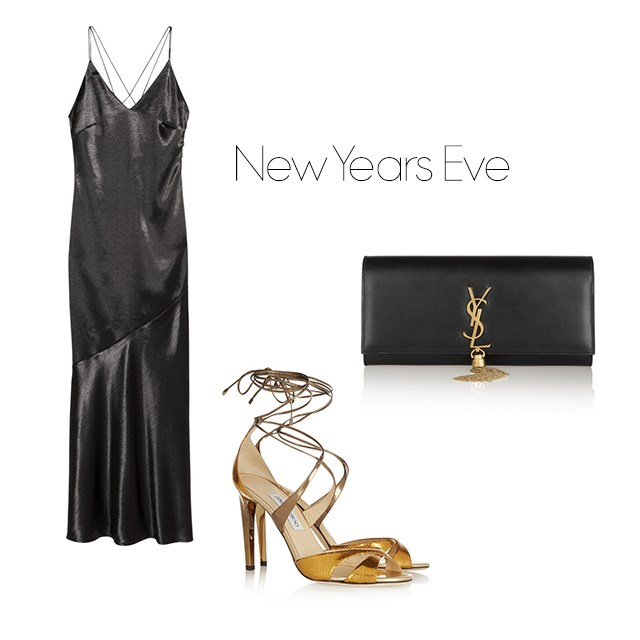 "<p>New Years Eve</p> <p>There's no better time to wear a slinky dress and metallic heels. Seriously, work it.</p> <p><a href=""http://www.hm.com/us/product/34702?article=34702-B"">H&M slip dress</a>, $49.95.</p> <p><a href=""http://www.net-a-porter.com/au/en/product/589869/jimmy_choo/teira-metallic-ayers-and-mirrored-leather-sandals"">Jimmy Choo heels</a>, $878.</p> <p><a href=""http://www.net-a-porter.com/au/en/product/433353/saint_laurent/monogramme-leather-clutch"">Saint Laurent clutch</a>, $1914.</p>"