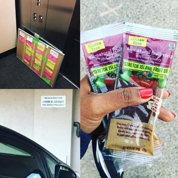 """Because she's as stoked about free snacks at work as we are! """"Highlights of going into work on a holiday weekend: finding my helpful story board in a stack of boards, running into @cbgrandy who was also working, and taking a bunch of free fruit leathers from our kitchen!"""" YEAH."""