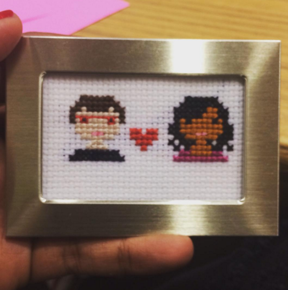 Because she agrees that someone cross stitching her character Mindy Lahiri and Danny Castellano is obviously the greatest thing of all time.