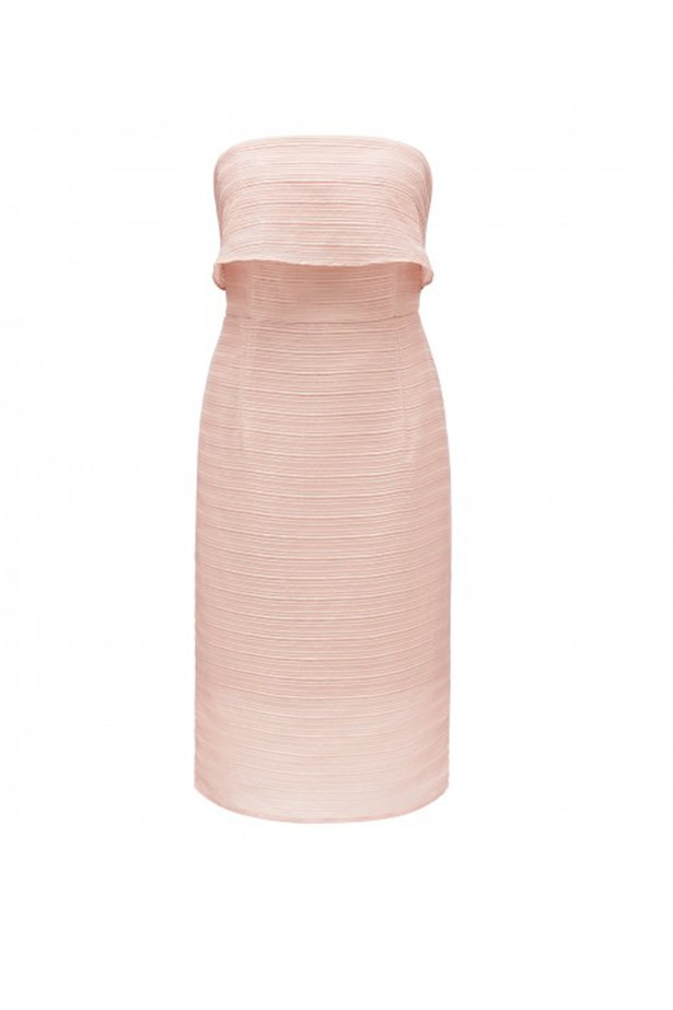 """Forever New bandeau dress, $159.99, <a href=""""http://www.forevernew.com.au/tilly-tier-bandeau-midi-dress-232303?colour=pink+diamond"""">Forever New </a>"""