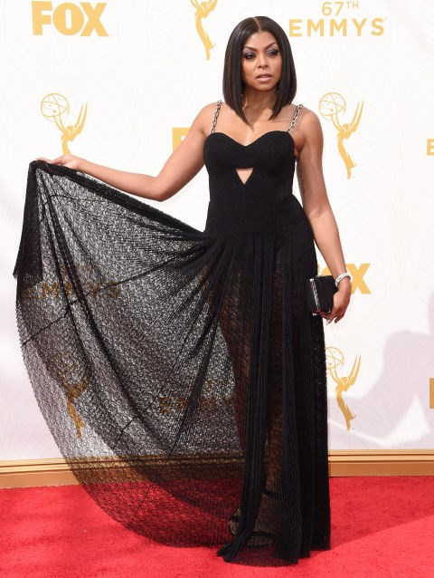 <strong>TARAJI P. HENSON IN ALEXANDER WANG</strong> <br><br> Attending the 67th Annual Emmy Awards, September 20.