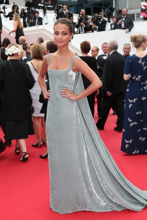 <strong>ALICIA VIKANDER IN VALENTINO COUTURE</strong> <br><br> Attending the 68th annual Cannes Film Festival, May 23.