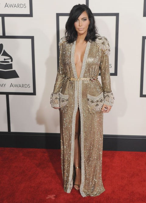 <strong>KIM KARDASHIAN IN JEAN PAUL GAULTIER COUTURE</strong> <br><br> Attending the 57th Annual Grammy Awards, February 8.