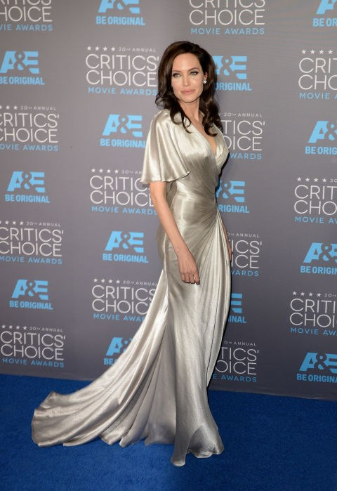 <strong>ANGELINA JOLIE IN ATELIER VERSACE</strong> <br><br> Attending the 20th Annual Critics' Choice Awards, January 15.