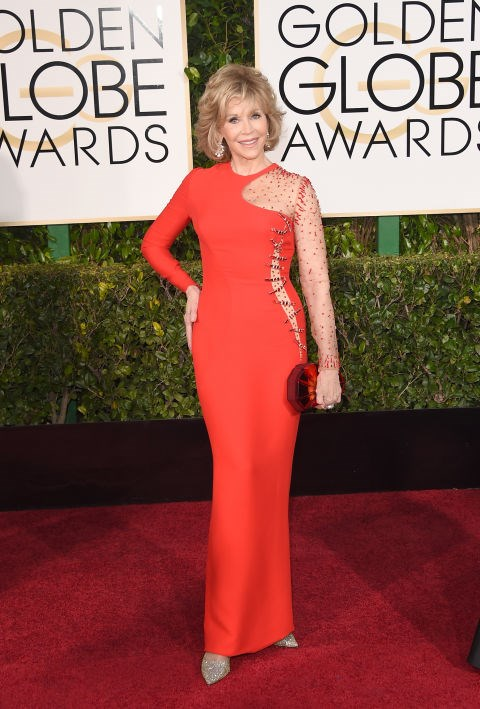 <strong>JANE FONDA IN VERSACE</strong> <br><br> Attending the 72nd Annual Golden Globe Awards, January 11.