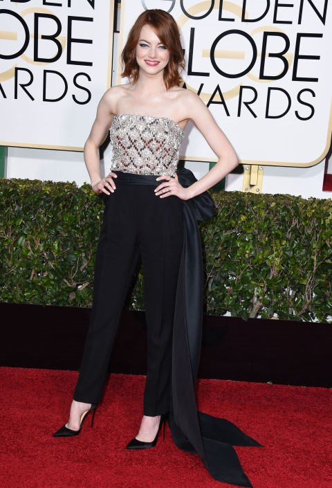 <strong>EMMA STONE IN LANVIN</strong> <br><br> Attending the 72nd Annual Golden Globe Awards, January 11.