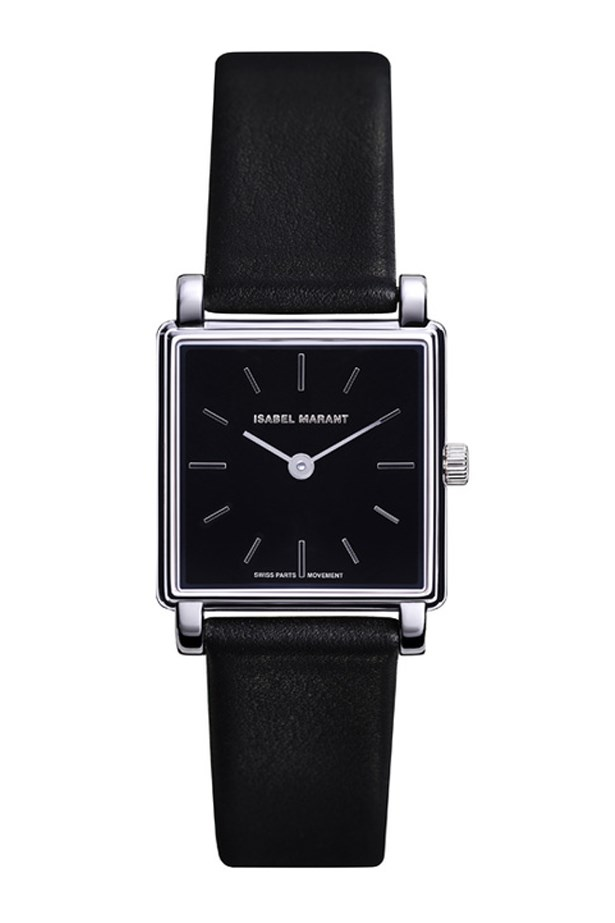 "Black Leather Watch, $1070, Isabel Marant, <a href=""http://www.net-a-porter.com/au/en/product/618565/isabel_marant/stainless-steel-and-leather-watch"">net-a-porter.com/au</a>"