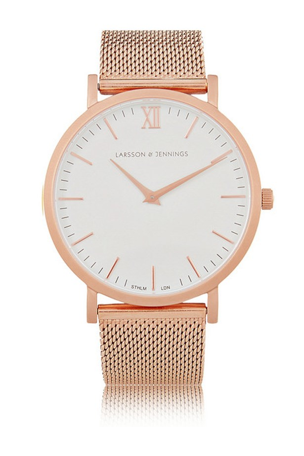 "Rose Gold Watch, $501, Larsson & Jennings, <a href=""http://www.net-a-porter.com/au/en/product/649104/larsson___jennings/cm-rose-gold-plated-watch"">net-a-porter.com/au</a>"