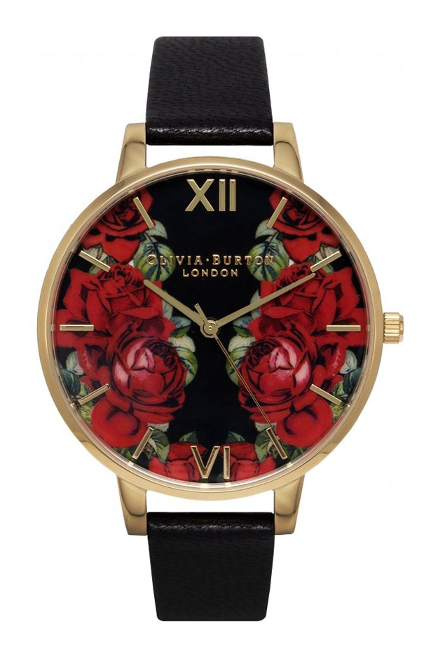 """Floral Watch, $169, Olivia Burton, <a href=""""http://www.asos.com/au/Olivia-Burton/Olivia-Burton-English-Rose-Large-Dial-Watch/Prod/pgeproduct.aspx?iid=5690745&cid=4175&Rf900=1624&sh=0&pge=0&pgesize=36&sort=-1&clr=Black&totalstyles=382&gridsize=4"""">asos.com/au</a>"""