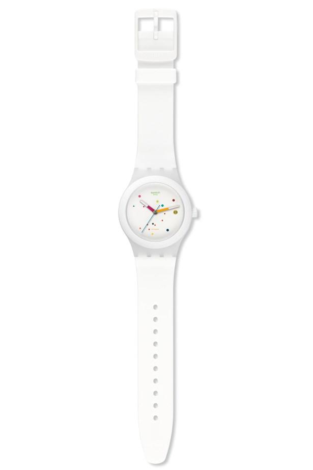 "Swatch Watch, $200, Swatch, <a href=""http://shop.swatch.com/en_au/watches/originals/sistem-51/sistem-white-sutw400.html"">swatch.com/en_au</a>"