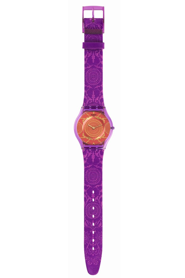 "Swatch Watch, $145, Swatch, <a href=""http://shop.swatch.com/en_au/watches/skin/classic/blaumann-sfn123.html"">swatch.com/en_au</a>"