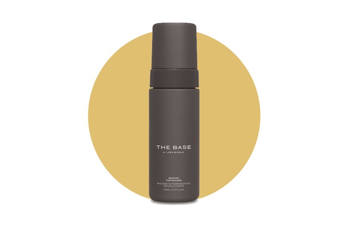 "Get an instant glow with Lara Worthington's <a href=""http://www.thebase.me/products/instant-tan-mousse?variant=972395127"">Tan Mousse by The Base</a>."