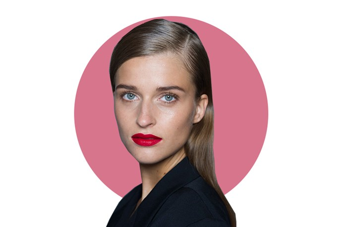 A statement crimson pout is always in style. We love the bright lip set against a fresh, natural complexion as seen at DKNY SS16.