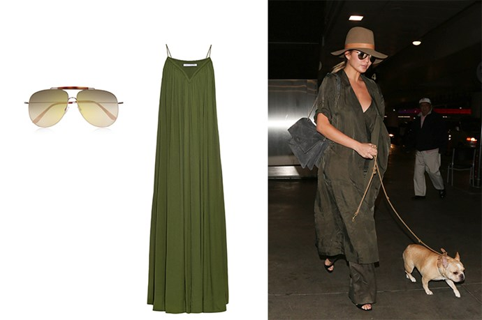 """<p>As Over Sized As Possible.</p> <p>Chrissy has the right idea with this silky outfit, not only does she still look stylish but she'll be hella comfy for the entire trip.</p> <p>Sunglasses, $501, <a href=""""http://www.net-a-porter.com/au/en/product/675880?country=AU&cm_mmc=LinkshareUK-_-4w9UJiJpWAc-_-Custom-_-LinkBuilder&siteID=4w9UJiJpWAc-CmWkdxz_i8fcLsm34a82Pw"""">Net-A-Porter</a>.</p> <p>Maxi dress, $309, <a href=""""http://www.matchesfashion.com/products/1028188?country=GBR&qxjkl=tsid:30065
